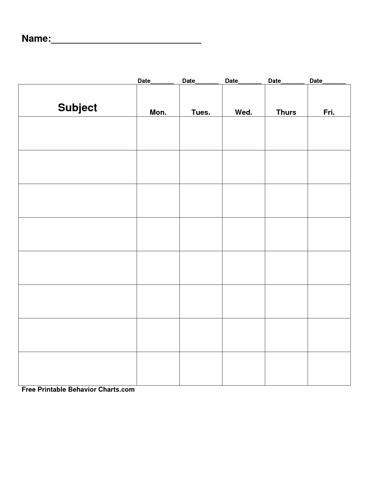 Free Printable Blank Charts – Blank Reward Chart