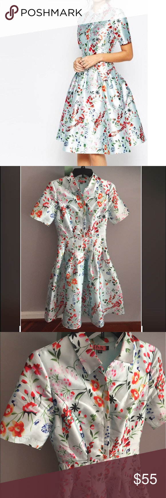 "•nwot• chi chi London Nora flare floral dress NWOT blue retro flare midi dress. Gorgeously shiny flowers with a slimming silhouette. Button up front, collar and flare skirt. Side zipper. Bust 17"". Waist 13"". Length 41.5"". Sized U.K. 8 but fits more like a US 2 comfortably ASOS Dresses Midi"