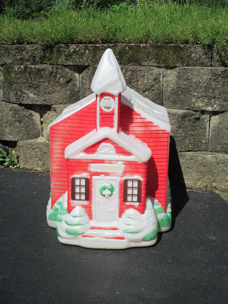 Christmas Blow Mold Red Schoolhouse Empire Vintage Holiday Yard