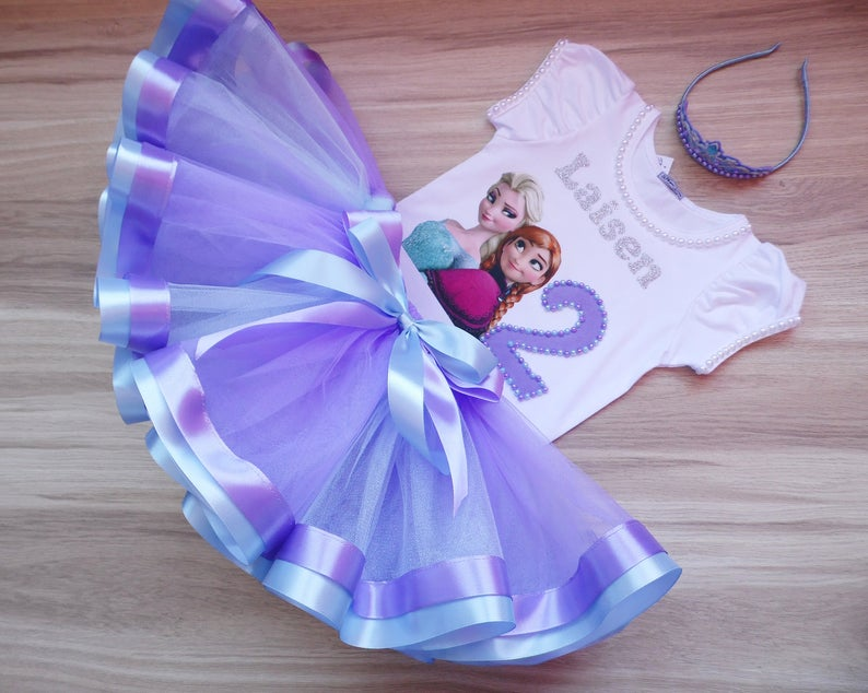 -With NAME- party Tutu outfit Frozen Elsa 3rd Birthday dress