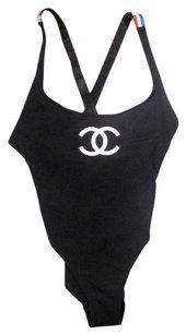 d713bdf54b6f3f Chanel VINTAGE FLAG SWIMSUIT - 6 38 - BLACK WHITE CC LOGO ONE PIECE BODYSUIT
