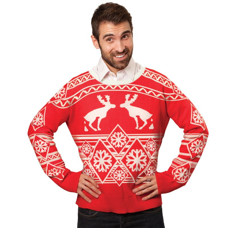 ugly christmas sweater pooping moose the classic moose sweater has always been your go to for winter wear hasn t it well it s been a while and that moose