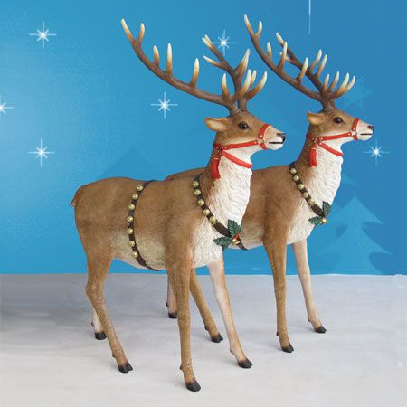life size pair of reindeer from the heimex christmas collection these magnificent reindeer are rich