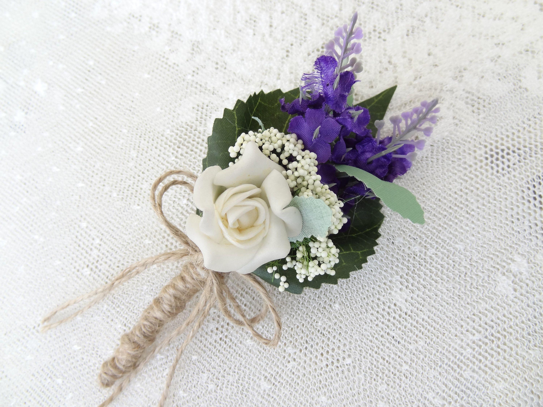 Boutonniere lavander flowers boutonniere rustic