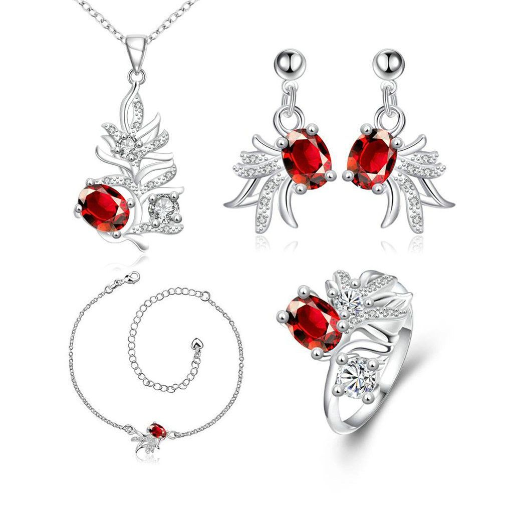 Womenus k gold plated jewelry sets earrings necklace white cz