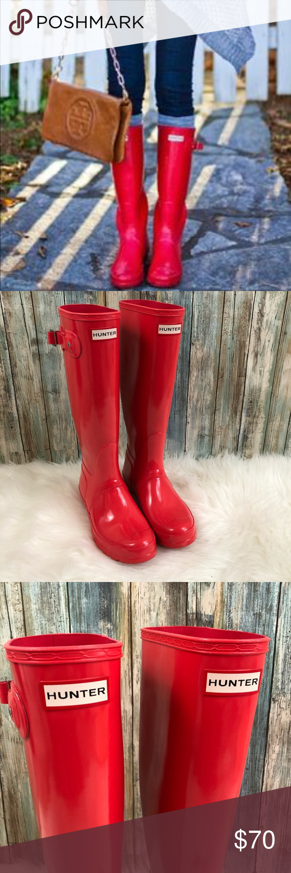 Hunter Bright Coral Glossy Boots 7 EUC | Boots, Hunter ...