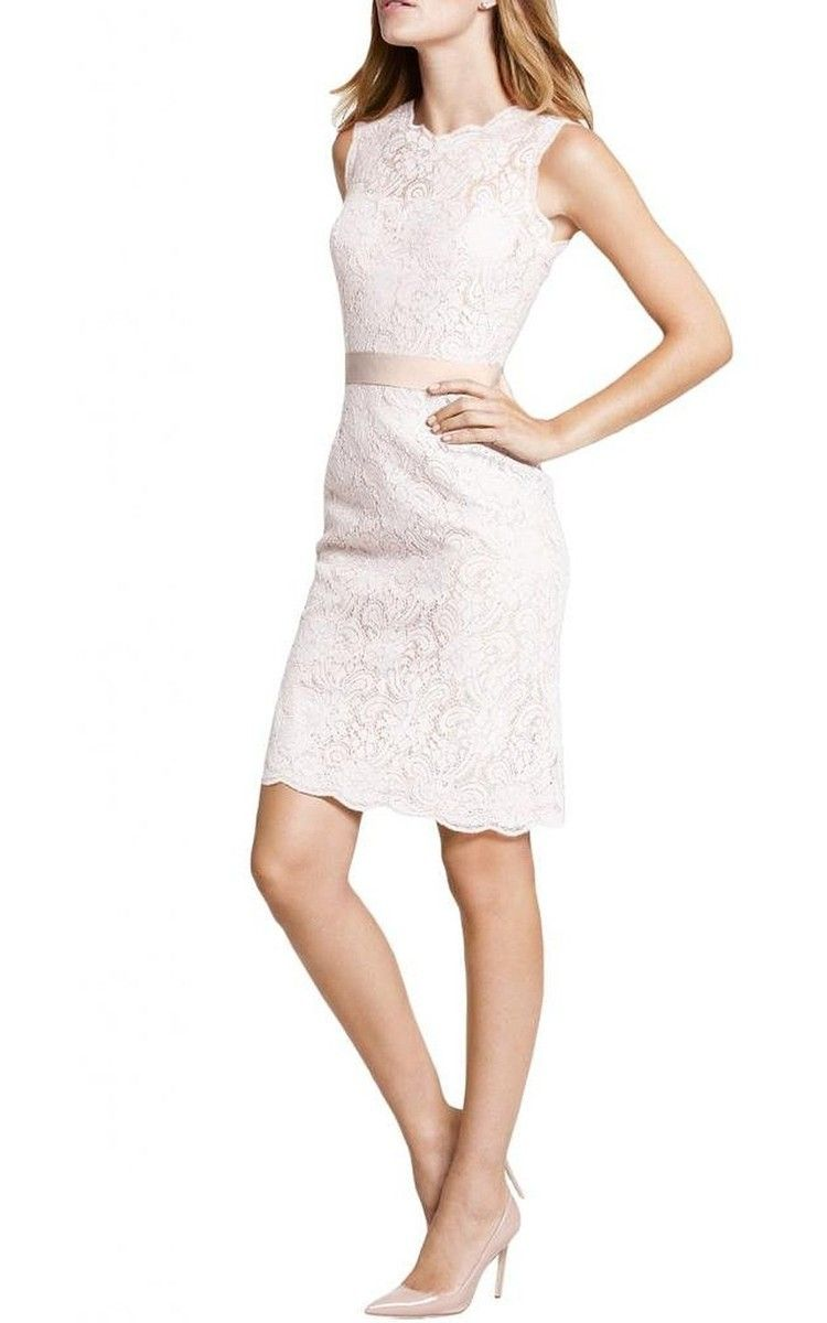 Scoop short lace modest lace bridesmaid dress with sash and zipper