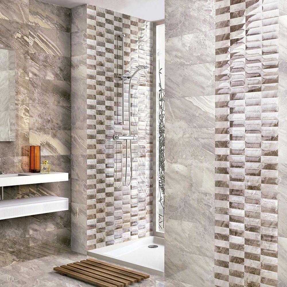 Light Grey Gloss Marble Effect Tiles Mediterranean Marble Effect Tiles 500x250x8mm Tiles