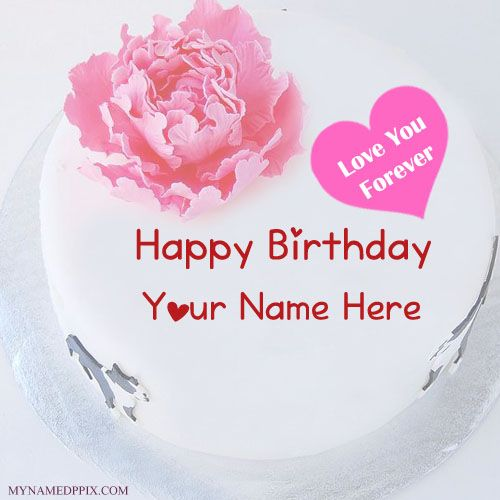 love u forever birthday cake with name write name on love u
