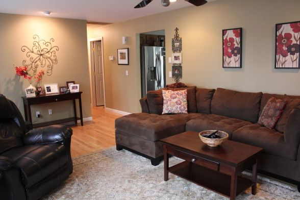 I like the red with the dark brown to go with our current sofa