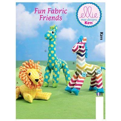 Butterick Kwik Sew Pattern K0211 Lion, Zebra and Giraffe toys ...