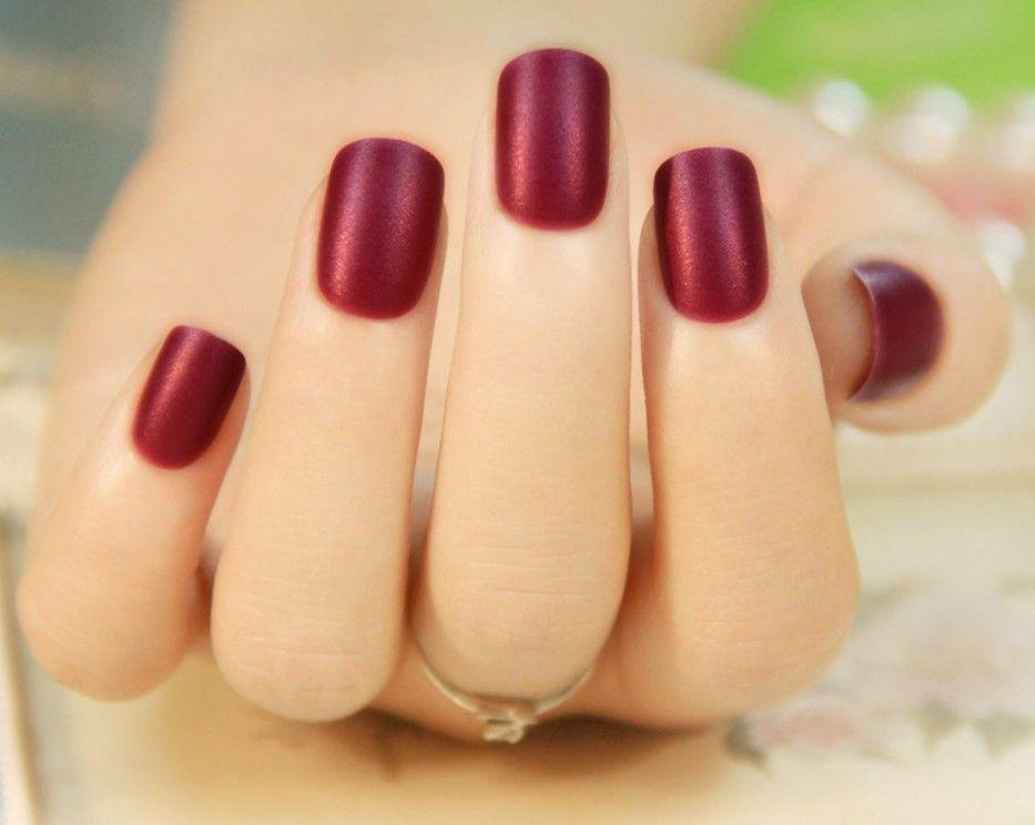 24pcs/Set Fashion French False Nail Short Design Red Black Full ...
