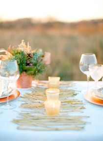 copper! love the votives on top of gold painted branches. Style Me Pretty | Gallery | #10880 | Page #1