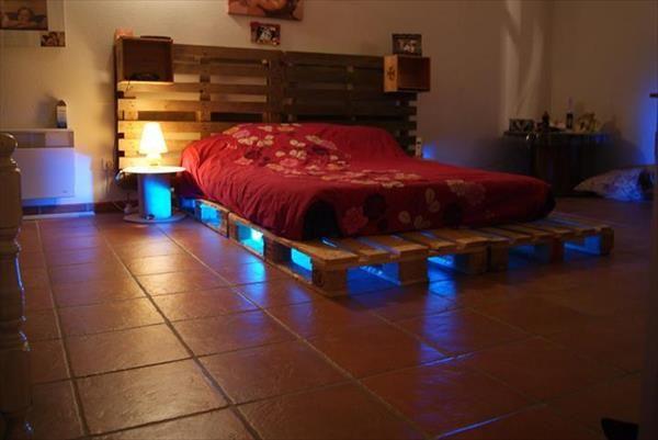 Diy Pallet Bed Led Lights Pallet Furniture Designs Pallet Bed