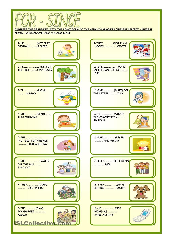 FOR - SINCE | Inglés 3 | Pinterest | Gramática y Tablero