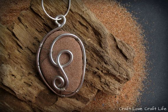 PEI Red Rock, Wire Wrapped in Silver and Aluminium on Etsy, $7.25 CAD