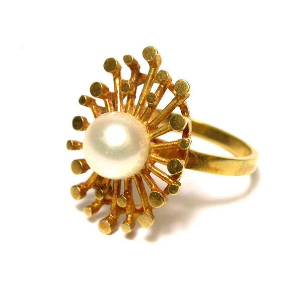 Pearl and 14k Yellow Gold Ring Size 6 3 4 Weight 4 6 Grams