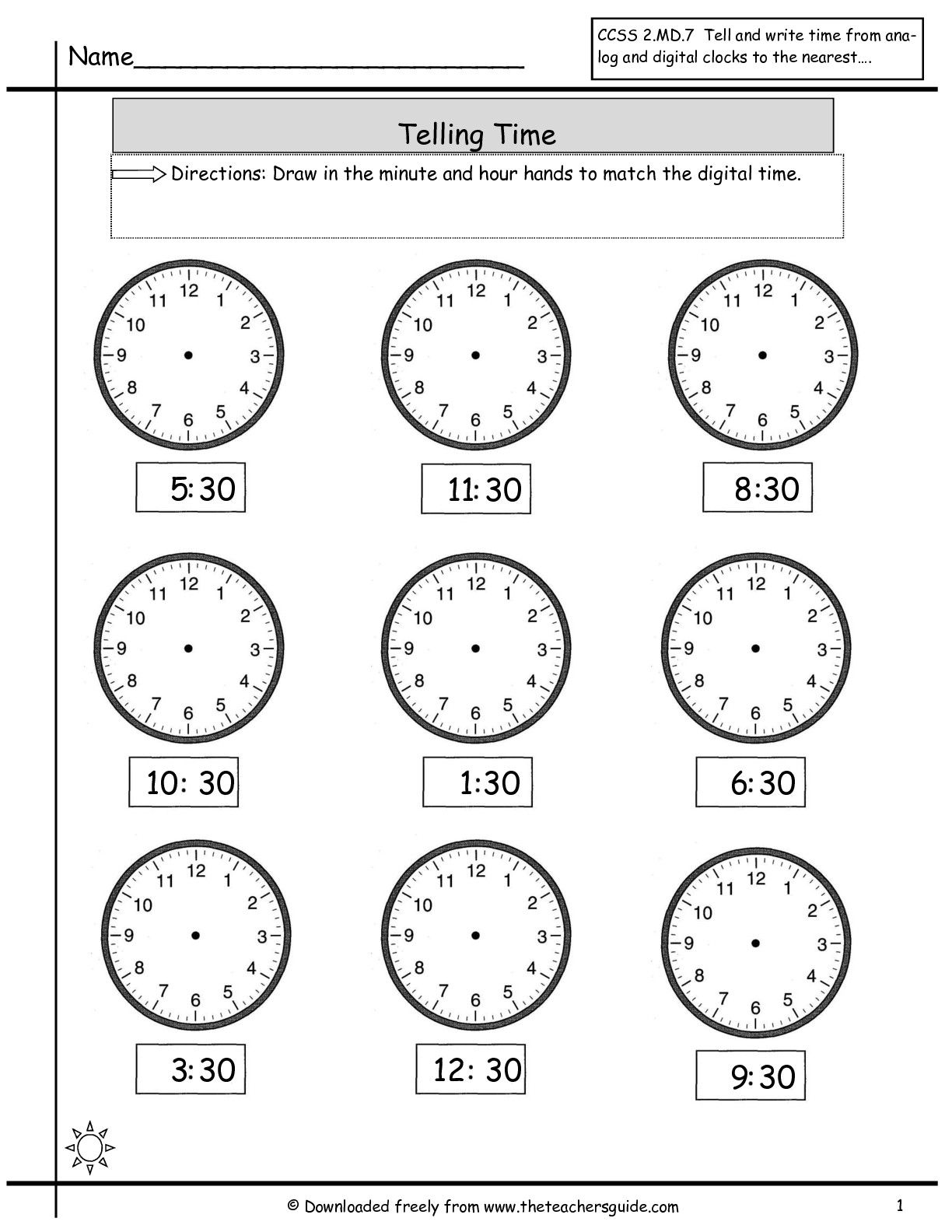 telling time to nearest half hour worksheet Time