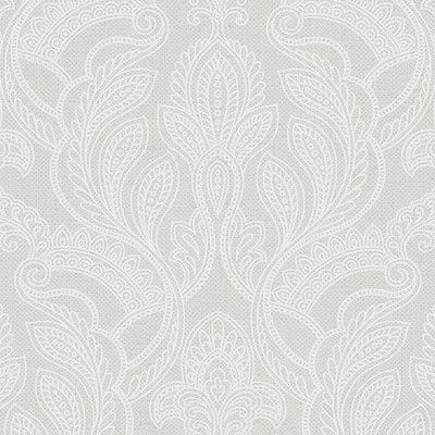 """Norwall Wallcoverings Inc VIntage Damask 32.7' x 20.5"""" Paisley with Linen Wallpaper Color: White Opaque"""
