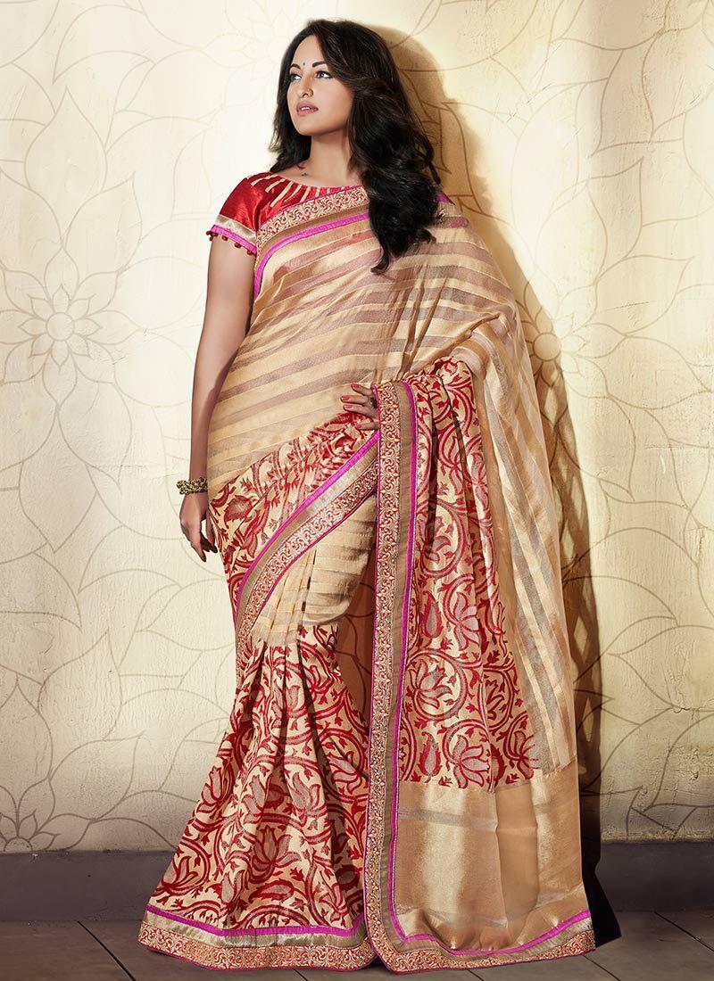 Chic Beige Pure Benarasi Silk Sonakshi Sinha Saree
