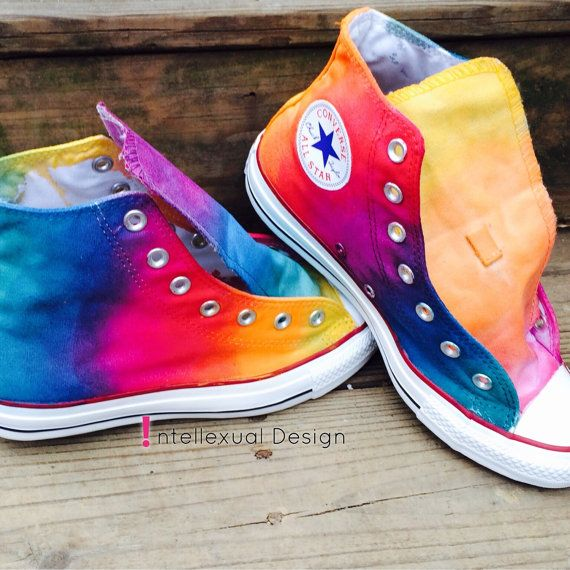 71630acd9bde Custom Hand Painted Rainbow HIGH TOP Converse Tie Dye Rainbow Ombre Hi Top  Converse Shoes on Etsy