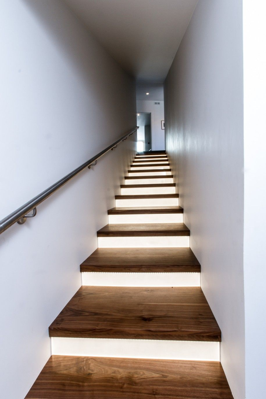 elegant wooden staircase design with modern led lighting style : modern stair lighting - azcodes.com