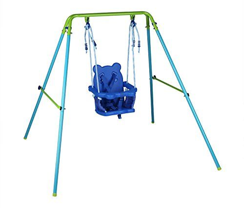 Blue Folding Swing Outdoor Indoor Toddler With Safety Baby Seat For Chirldren S Gift