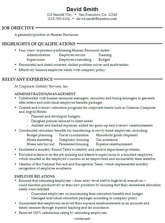 Sample Resume for someone seeking a job as a Generalist in Human - human resources sample resume