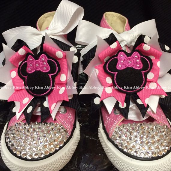Minnie mouse silhouette Bling Converse shoes pink by Abbeykim1