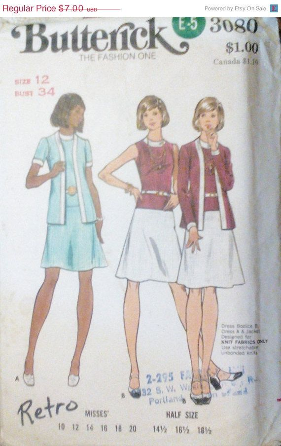 Sale Sale Sale Vintage Sewing Pattern by SewYesterdayPatterns (Craft Supplies & Tools, Patterns & Tutorials, Sewing & Needlecraft, Sewing, sewyeaterdaypatterns, vintage pattern, butterick pattern, commercial, craft supplies, 1970s pattern, misses women, sewing pattern, sewing supplies, size 14 bust 36, misses dress pattern, 70s dress pattern, jacket pattern)
