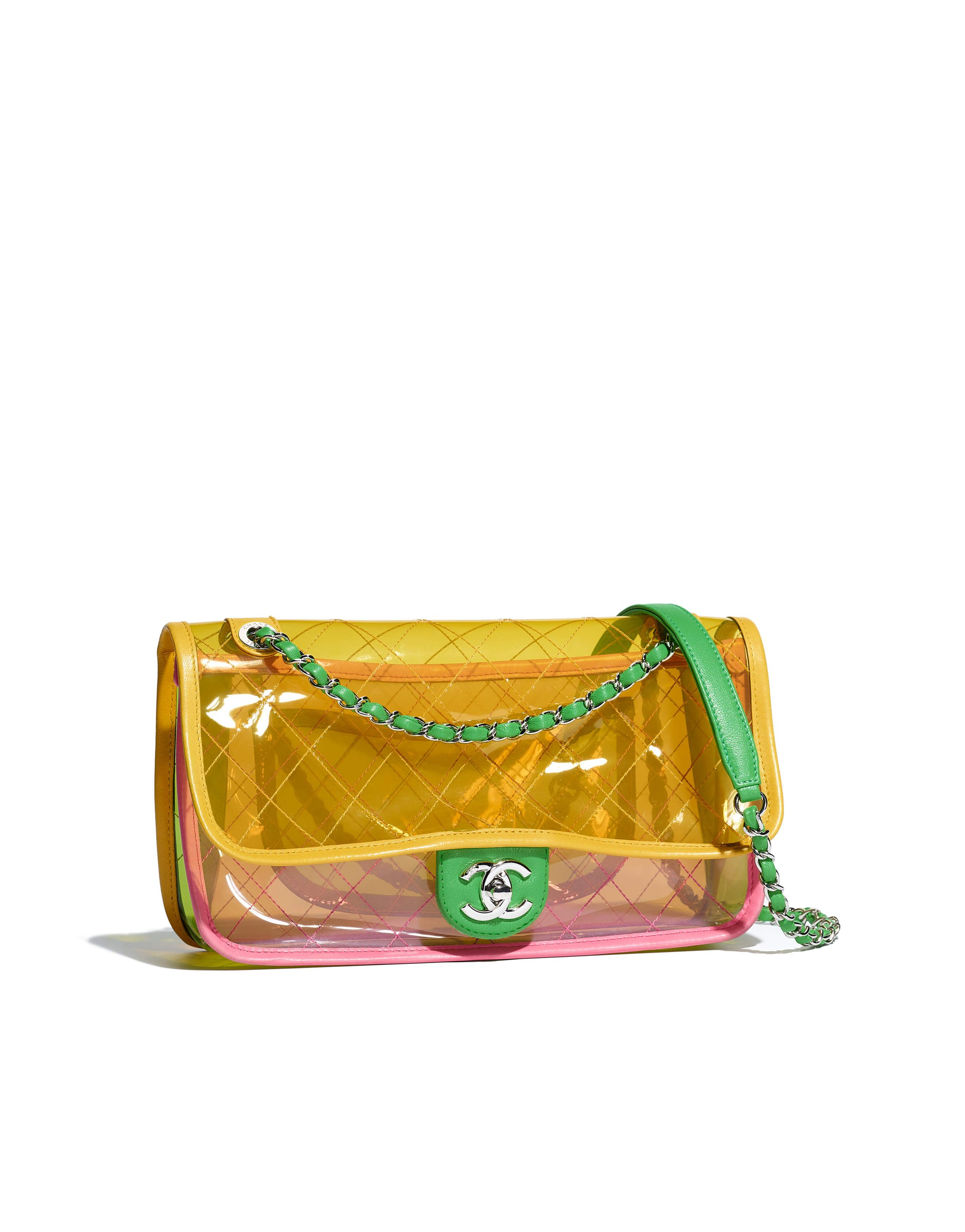 4fa0f079 Chanel - SS2018 | Pink & yellow PVC flap bag | BAGS | Vintage chanel ...