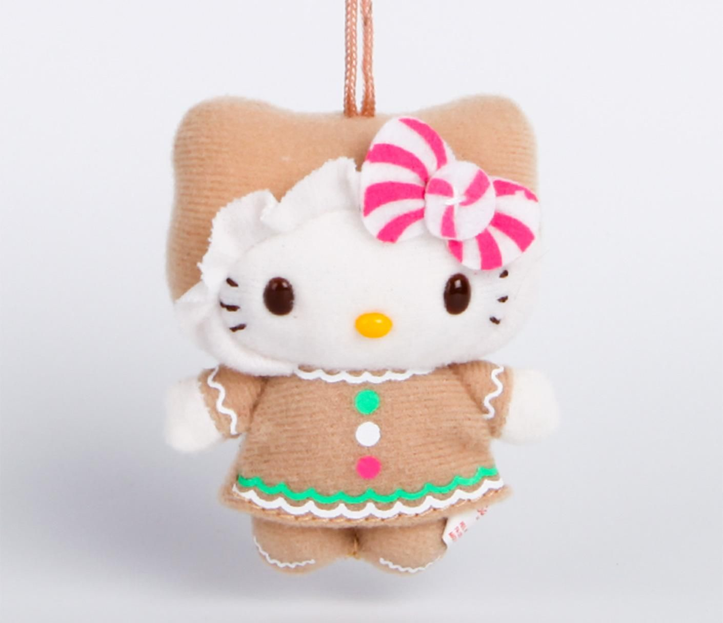 Hello Kitty Plush Holiday Ornament Gingerbread 3 Favs Hello