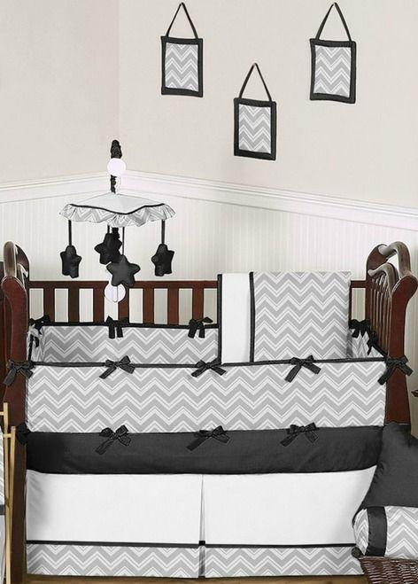 Gray and Black Zig Zag Chevron Baby Bedding 9-Piece Crib Set ...