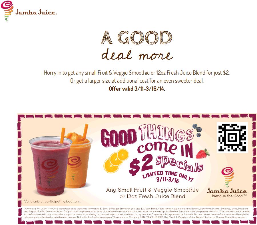 photograph regarding Jamba Juice Printable Coupon named Pinned March 13th: $2 smoothie or juice at Jamba #Juice