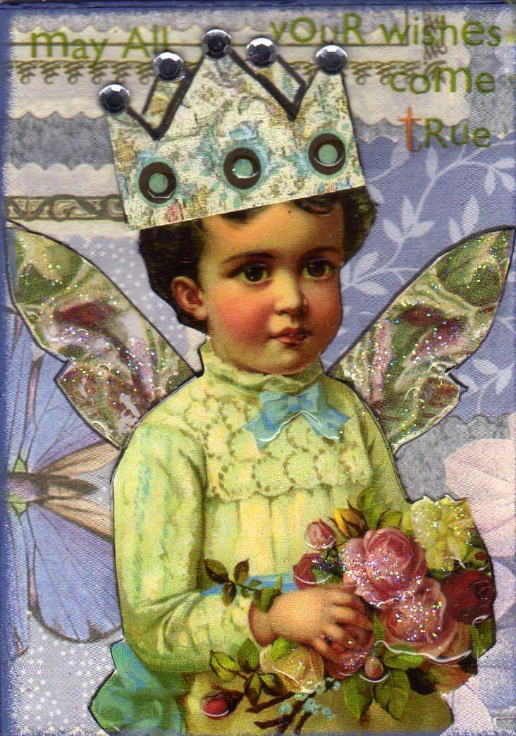 Atc artist trading card fairy collage card art art