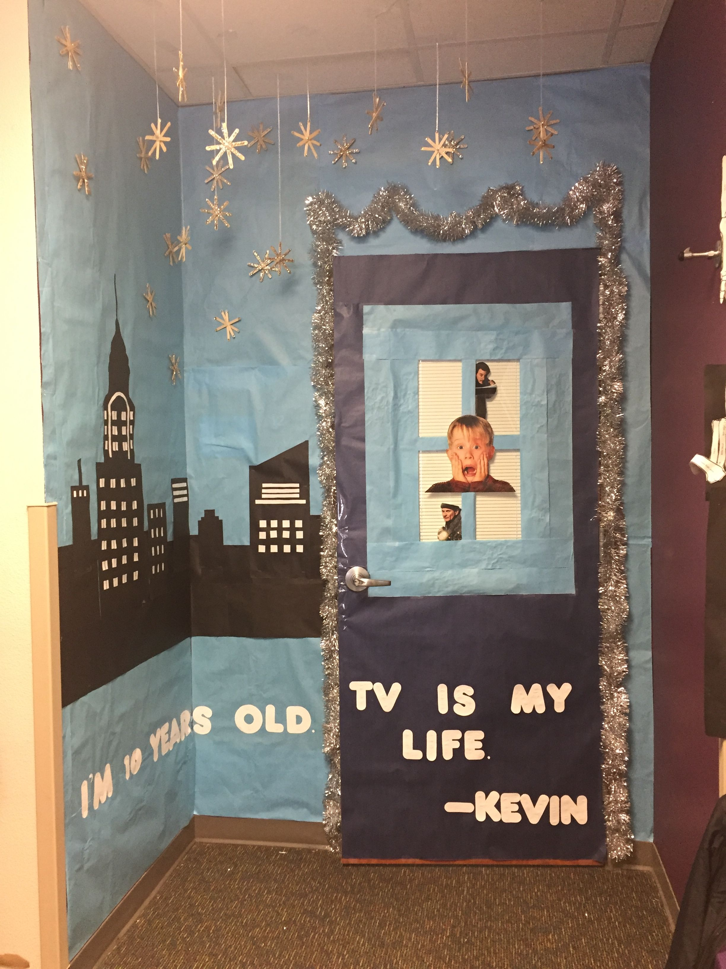 Aden S 3rd Grade Door Decoration I Made Christmas Movie Theme And The Class Ch Home Alone Christmas Christmas Classroom Door Christmas Door Decorating Contest