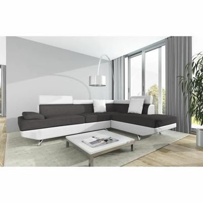Scoop Canape D Angle Droit 4 Places Tissu Gris Et Simili Blanc Contemporain L 259 X P 182 Cm Canape Angle Canape Table Basse