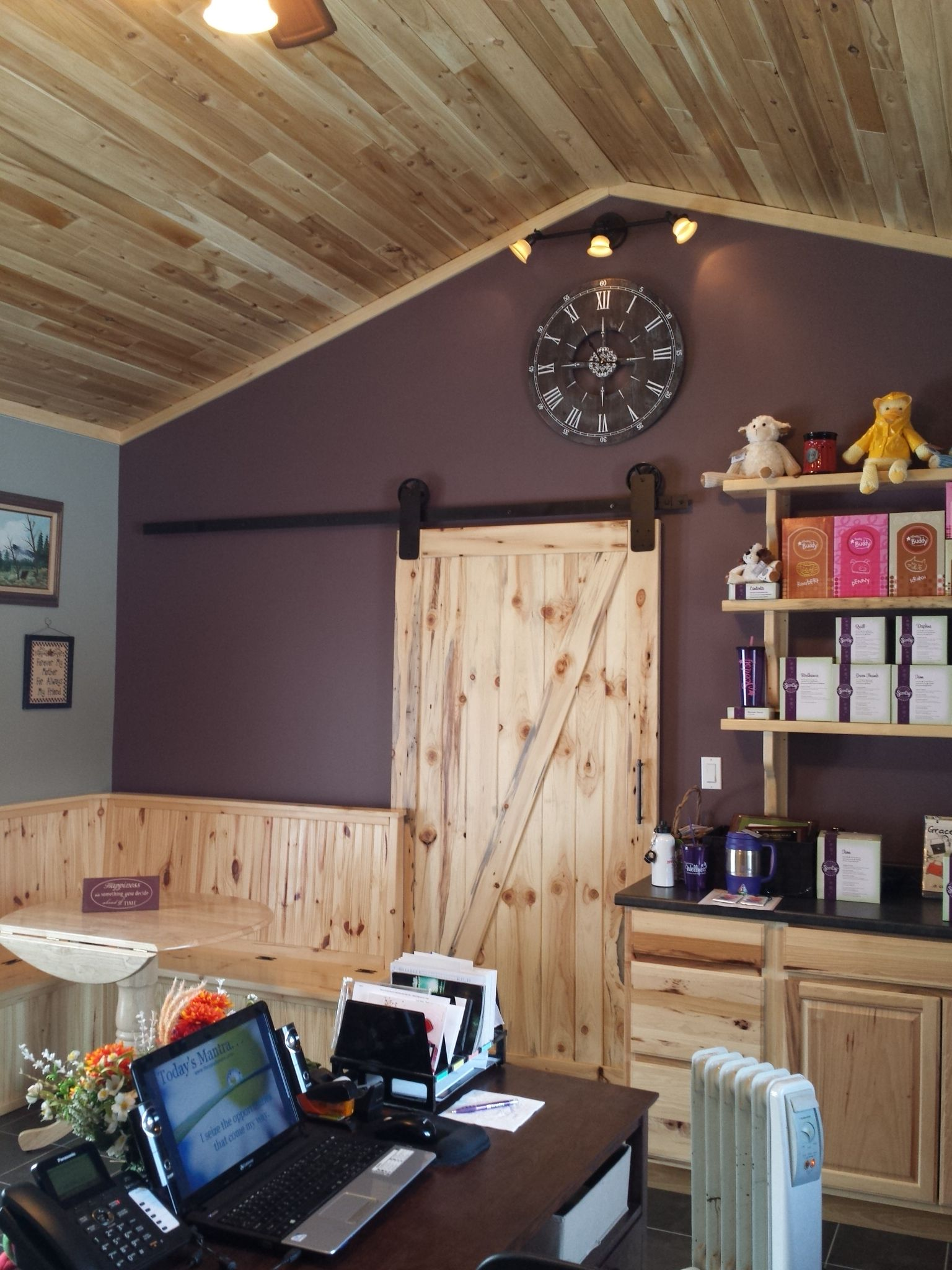Handmade Knotty Pine Barn Door Purple and Green Office ...