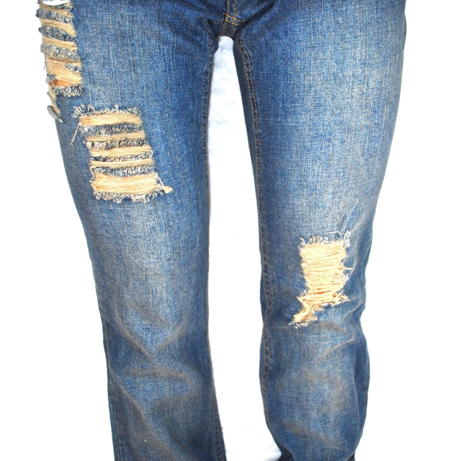790857ed4de66 Cappuccino Boho Hippie Ripped Destroyed Low Rise Denim Blue Jeans ...