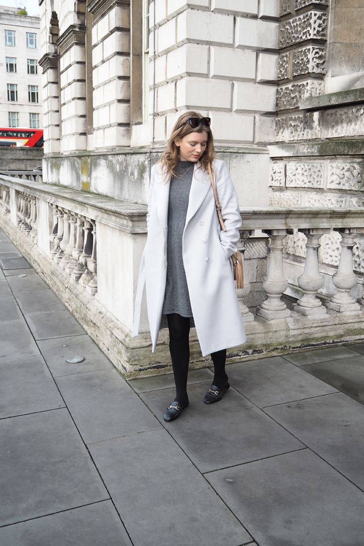 64baec497bb0 Fall / Winter Outfit with a touch of Spring in London - wearing a Reiss  light