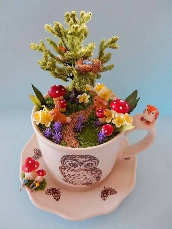 Woodland Walk Teacup Diorama Byloveharriet Www Lilyanddot Com Au Tea Cup Projects Teacup Crafts Miniature Fairy Gardens