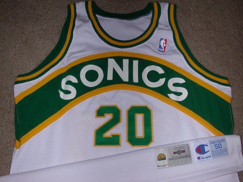 online retailer 166e2 4281e Authentic Champion Seattle Sonics Gary Payton Jersey ...