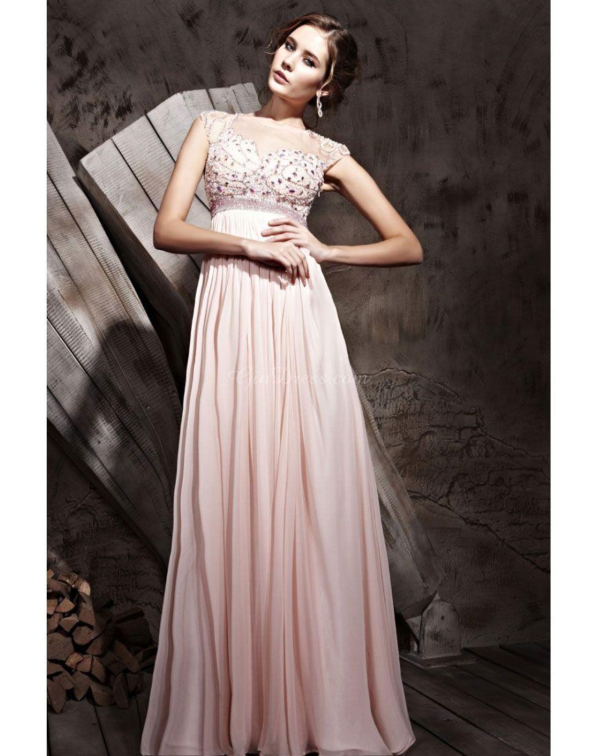Tencel aline scoop neck cap sleeve crystals long evening dress