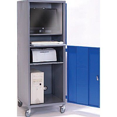 Beautiful Mobile Computer Cabinet With Locking Top And Bottom Compartments