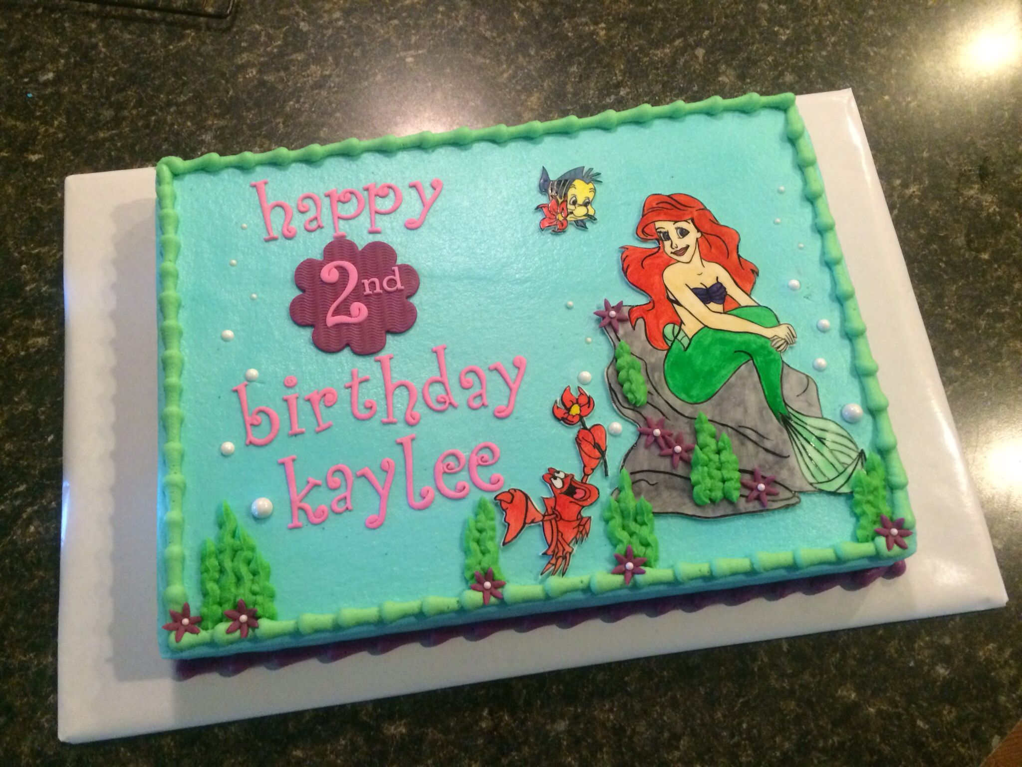 Ariel Little Mermaid Sheet Cake With Images Mermaid Birthday