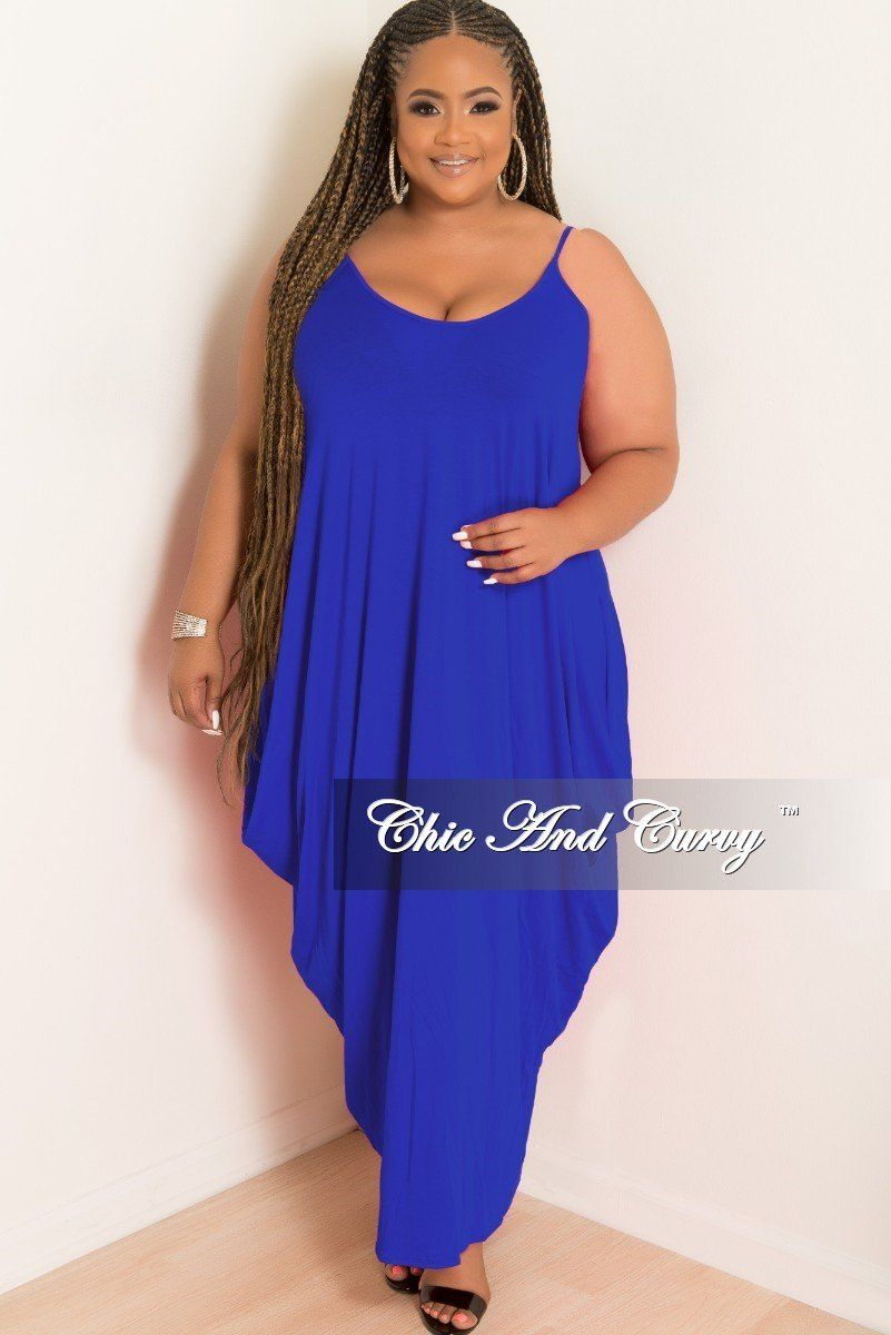 170c753d23 Plus Size Spaghetti Strap Harem Dress in Royal Blue – Chic And Curvy
