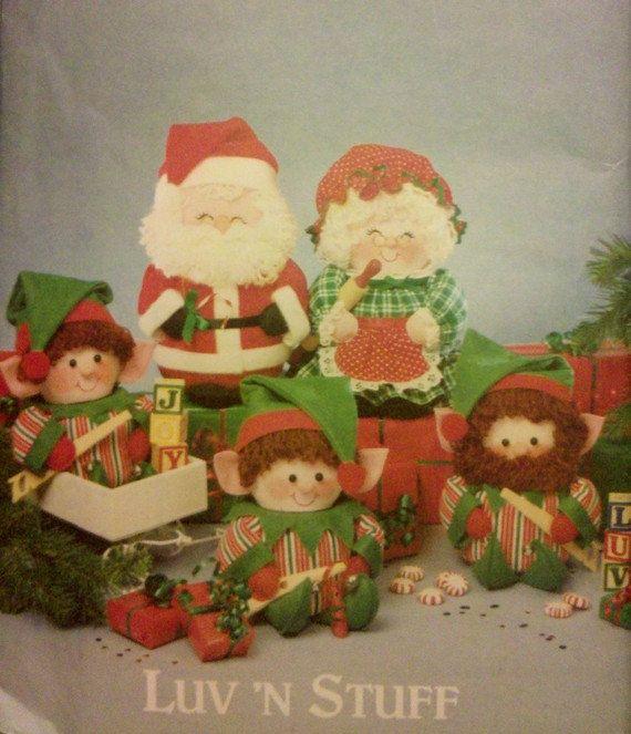 Vintage Christmas Pixie Elf Sewing Pattern Santa Mrs Claus Elves