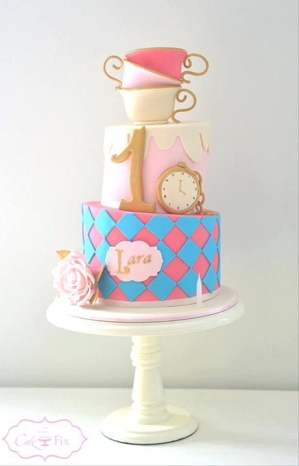 Alice In Wonderland Themed Cake For A Little Girls First Birthday