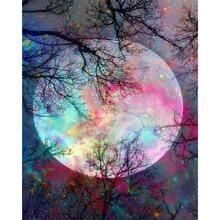 "Pretty Full Moon 5D Full Round or Square Diamond Painting Kit 12""x16"" - Square"