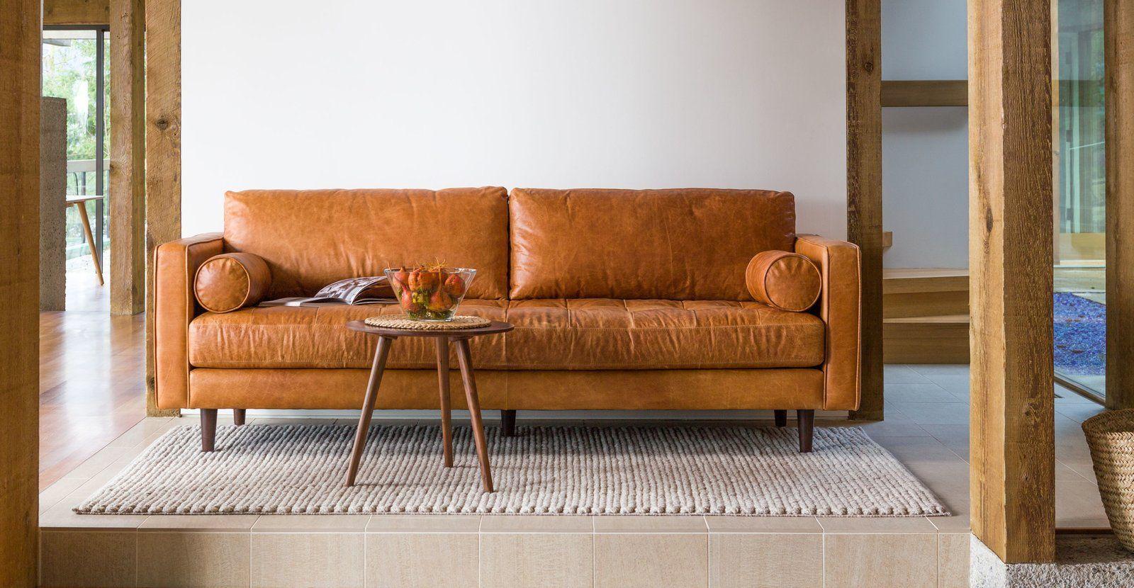 Merry Modern Article Sven Charme Tan 72 Sofa Best Leather Sofa Leather Sofa Set Modern Leather Sofa